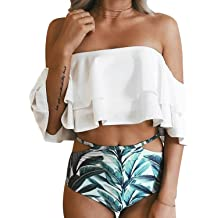 95b824480a6 Tempt Me Women Two Piece Swimsuit Off Shoulder Ruffled Flounce Crop Top  Bikini with Cutout Bottom